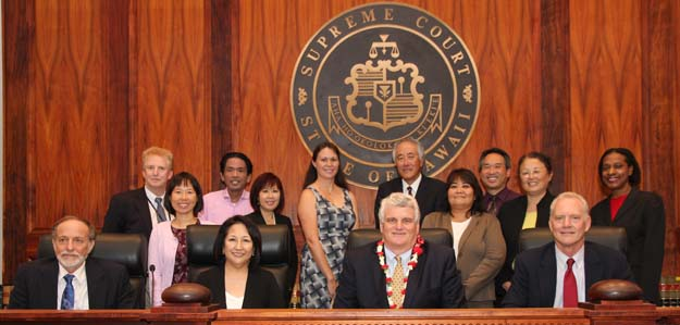 Pictured above are pro bono attorneys that serve at the Kapolei Family Court Access to Justice Rooms with Judge R. Mark Browning (Senior Judge of the Oahu First Circuit Family Court) and Associate Justices Richard Pollack and Paula Nakayama, Chief Justice Mark Recktenwald, and Associate Justice Michael Wilson.
