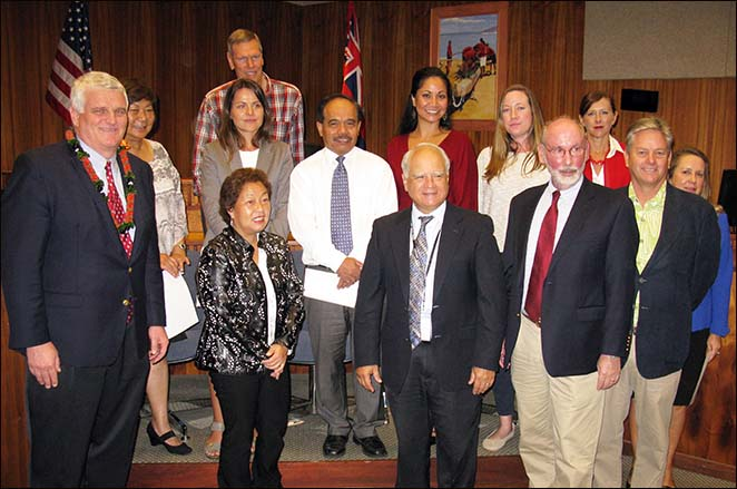 First row, left to right:  Hawaii Supreme Court Chief Justice Mark Recktenwald, Second Circuit Judge Rhonda Loo, Second Circuit Chief Judge Joseph Cardoza, Intermediate Court of Appeals Associate Judge Dan Foley, HSBA President Greg Markham, Tracy Jones.  Second row, left to right:  Caroline Peters-Belsom, Magdalena Bajon, Ben Acob, Brianne Wong-Leong, Allison Mileur, Keri Mehling.  Back row:  J. Kevin Jenkins.