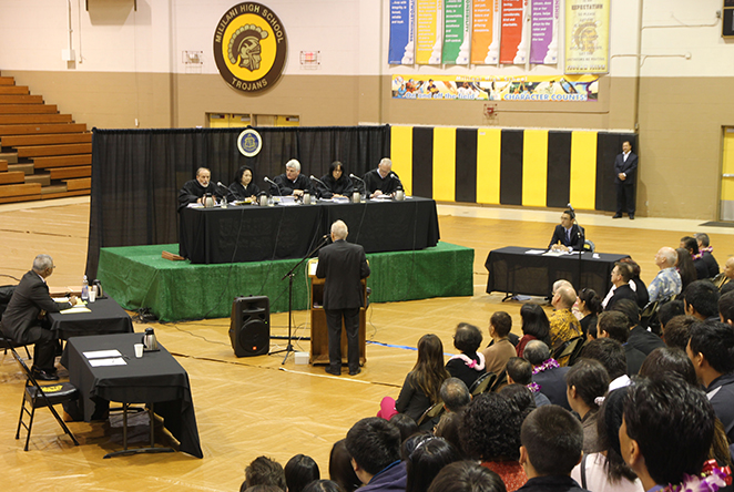 picture of oral argument at Mililani High School