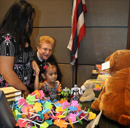 Judge Browning encouraged the children to pick any toy that catches their fancy.