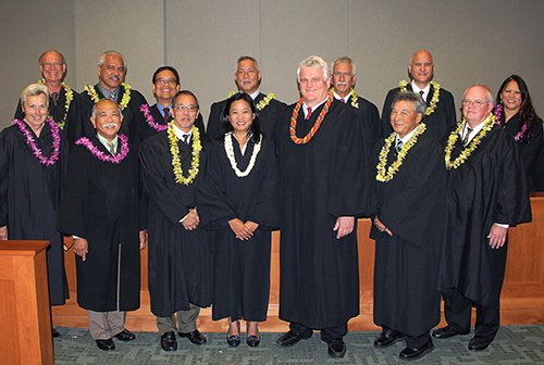 Chief Justice Mark Recktenwald poses with Judge Nagata and colleagues.