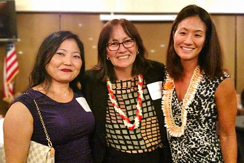 Associate Justice Sabrina McKenna with two students at UH Law School Evening Part Time Program's 100th Graduate Celebration, 08/27/2016.