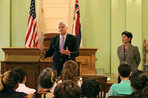 Chief Justice Mark Recktenwald and Intermediate Court of Appeals Associate Judge Lisa Ginoza with homeschool students commemorating Constitution Day 2016.