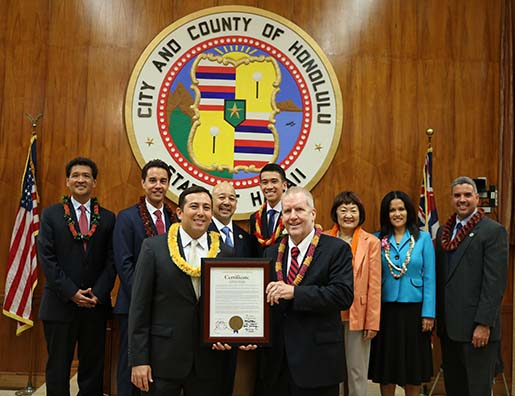 The Honolulu City Council presented Retired Circuit Court Steven Alm with an award for his work with the HOPE program.