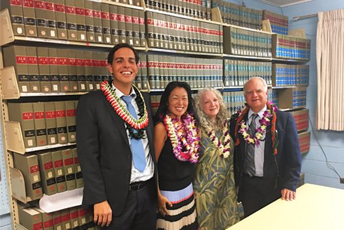 Pictured above (from right to left) is Joseph Cardoza, Chief Judge of the Second Judicial Circuit; Madeleine Buchanon, Lahaina Public Library Branch Manager; Jenny Silbiger, State Law Librarian; and Lance Collins, Attorney for North Beach West Maui Benefit Fund celebrating a grassroots effort that will benefit the West Maui community.