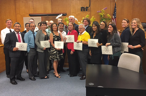 Volunteer attorneys with certificates of recognition at the Kona Self-Help Desk Recognition Awards, December 9, 2016