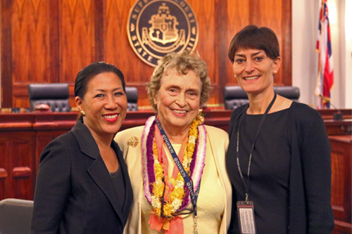 Beadie Kanahele Dawson, Esq.,  an expert in the Hawaiian concept of Ho'onopono, spoke at Aliiolani Hale. She is pictured with the Hawaii State Judiciary Center for Alternative Dispute Resolution's Director, Cecelia Chang (left), and Research Analyst, Anne Marie Smoke (right).