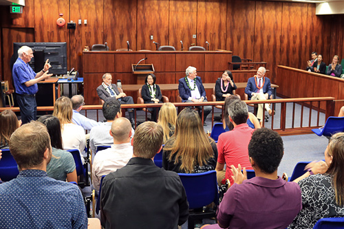 A photograph of University of Hawaii law students listening to a discussion featuring Hawaii's Supreme Court justices.