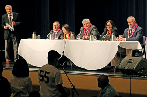 The Hawaii Supreme Court holds Oral Argument at Baldwin High School on April 27, 2017--<em>Laughter and learning were part of the Courts in the Community Program when high school students asked questions of the Hawaii Supreme Court Justices. The Hawaii Supreme Court heard oral argument on April 27, 2017 at Baldwin High School on Maui. Left to right: Event Moderator Judge Joel August (ret.), Associate Justice Richard Pollack, Associate Justice Paula Nakayama, Chief Justice Mark Recktenwald, Associate Justice Sabrina McKenna, and Associate Justice Michael Wilson.</em>
