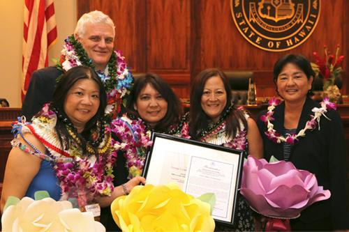 Chief Justice Mark E. Recktenwald, Tracy Chan, Myrna Fong, Noreen Miyasato, Judge Lisa Ginoza at the 09/22/2017 Judiciary Statewide Incentive Awards.