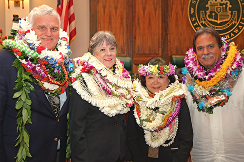 Chief Justice Mark E. Recktenwald, First Circuit Judge Virginia Lea Crandall, Iris Murayama, Hawaii State Judiciary Deputy Administrative Director of the Courts; and Colin Rodrigues, Deputy Chief Court Administrator, Second Circuit (Maui, Molokai, Lanai), at the 09/22/2017 Judiciary Statewide Incentive Awards.