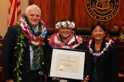 Chief Justice Mark E. Recktenwald, Star Haleamau, Judge Lisa Ginoza at the 09/22/2017 Judiciary Statewide Incentive Awards.