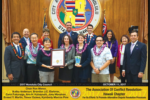 The Honolulu City Council issues a proclamation in honor of Conflict Resolution Day in Hawaii
