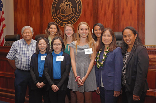 Photograph of the winners of the Hawaii Access to Justice Commission's 2017 essay and video contest, October 26, 2017.