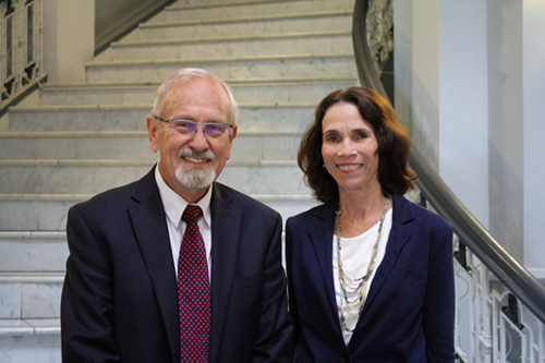 Photograph of Attorney William C. Darrah and Mediation Center of the Pacific Executive Director Tracey Wiltgen, who volunteer to conduct Divorce Law seminar eacrh month.