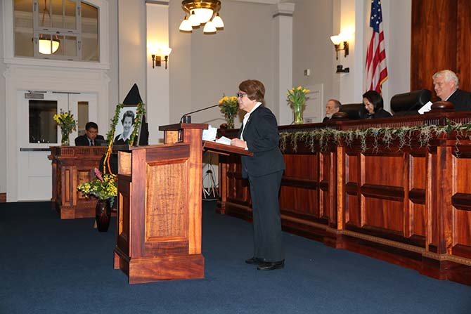 Photograph of the late Judge Betty Vitousek's memorial service