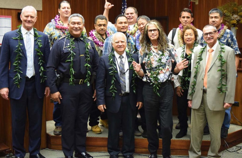 A group photograph of Hawaii Judiciary staff and partners with the Maui Drug Court Graduates. Rock star Steven Tyler also attended the event on Feb. 15, 2018.