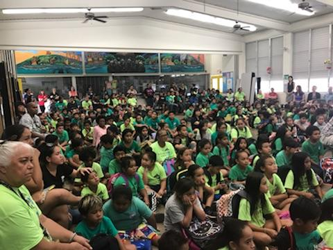 This school assemly room was packed with kids attending a seminar about how to deal with bullies