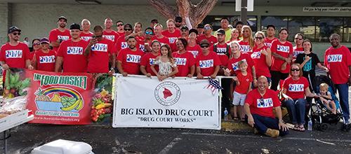 Group photo of Kona Drug Court volunteers outside KTA store in Kona, 05/04/18.