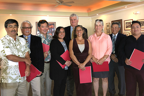 Hawaii Supreme Court Chief Justice Mark Recktenwald and Third Circuit Chief Judge Greg Nakamura with 7 attorneys at the Hilo Yacht Club, for the Hawaii County Bar Association's annual meeting, 01/28/2019.
