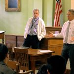 Hawaii First Circuit Judges James C. McWhinnie and James H. Ashford speak with students from Kawananakoa Middle School in the 1913 Courtroom the Hawaii Supreme Court Building, Ali iolani Hale, 03/07/2019.