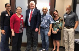 Pictured here are Daylin-Rose Heather, Arlette Harada, Chief Justice Mark E. Recktenwald, Gilbert Doles, Dana Barbata, and Sergio Alcubilla. Four of them were recognized for volunteering in the Access to Justice Room at Honolulu District Court.