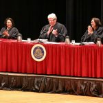 Hawaii Supreme Court Justices giving a round of applause from the bench, Kauai Community College Performing Arts Center, 04-10-2019.