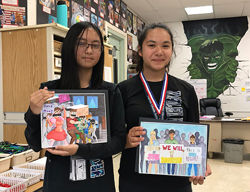 2019 First Circuit Law-Day Poster Contest 2nd and 3rd place winners Erika Penullar (left) and Trinity Sperle Kapolei Middle School.