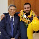 Third Circuit Chief Judge Greg Nakamura with Big Island Drug Court Program's 47th graduate.