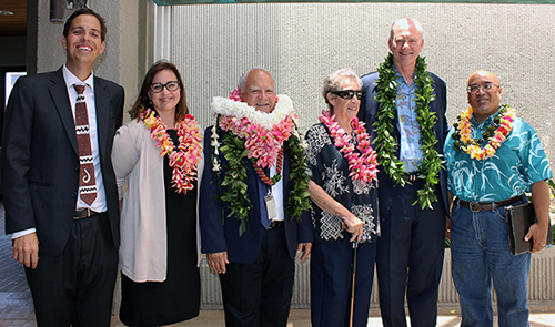 Photo of From left, Lance D. Collins, Marti Townsend, Second Circuit Chief Judge Joseph Cardoza, Jan  Dapitan, Associate Justice Michael Wilson, and Maui Sen. Gil Keith-Agaran.