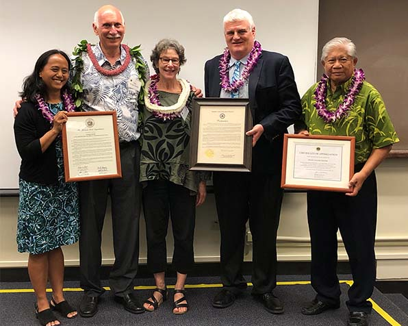 Photo of Avi Soifer, Dean of the University of Hawaii William S. Richardson School of Law, was honored at the June 7, 2019 Hawaii Access to Justice Conference. From left, Rep. Della Au Belatti, Avi Soifer, his wife, Marlene Booth, Chief Justice Mark E. Recktenwald, and Associate Justice Simeon Acoba (ret.)