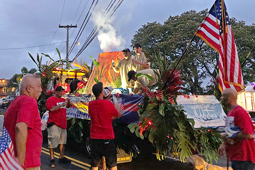 Judge Melvin Fujino and members of the Big Island Drug Court team in the 2019 Kailua-Kona Fourth of July parade.