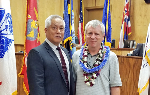 Judge Melvin Fujino with Big Island Veterans Treatment Court's 14th graduate 06/17/2019.