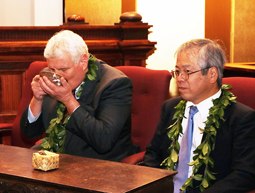 Photo:  Chief Justice Mark E. Recktenwald drinks the ceremonial green tea as Consul General Kōichi Ito, Consulate General of Japan in Honolulu, looks on.