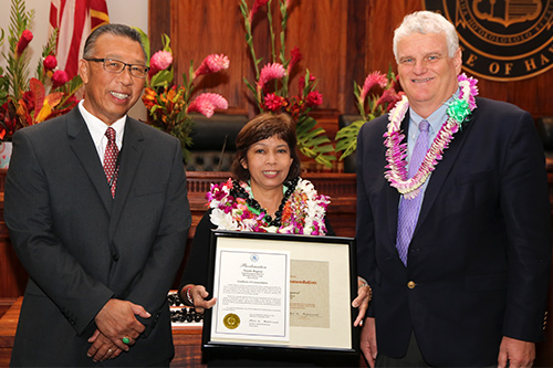 Natalie Ragmat, Judicial Clerk V, in the First Circuit (Ohau) Honolulu District Court, Legal Documents Branch 2, with Intermediate Court of Appeals Associate Judge Derrick H.M. Chan and Hawaii Supreme Court Chief Justice Mark E. Recktenwald, in the Supreme Court courtroom, 09/30/2019.