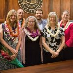Hawaii Access to Justice Commission Chair Justice Simeon Acoba (ret.), attorney Christine Daleiden, attorney Gary Singh, attorney Denise George, attorney Wyatt Honse, attorney Barbara Ritchie, attorney Meredith Miller, and Hawaii Supreme Court Chief Justice Mark E. Recktenwald stand in front of the bench of the Hawaii Supreme Court courtroom at the annual Pro Bono Celebration, 10/24/2019.