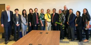 Photo of justices, Third Circuit Court judges, Gov. Ige, and Kahu Danny Akaka, Jr. at the blessing of the Keahuolu Courthouse.