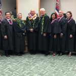 Third Circuit judges with Hawaii Supreme Court Chief Justice Mark E. Recktenwald, in a courtroom at the Hale Kaulike Courthouse in Hilo, Hawaii, November 4, 2019.