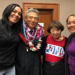 Jessica Mae Caravalho, Drug Court graduate and Friends of the Big Island Drug Court Secretary; Third Circuit Chief Judge Greg Nakamura, Irene Nagao, Friends Board member; and Michelle Manalo, graduate and Friends Treasurer, in a courtroom at the Hilo Courthouse, 11/14/2019