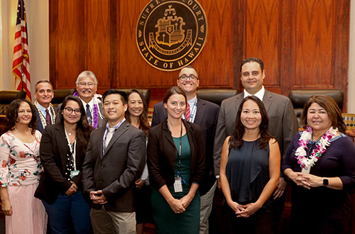 Drug Court staff and judges gathered in front of the Supreme Court courtroom at the 70th Oahu Drug Court Graduation Ceremony, 11/18/2019.