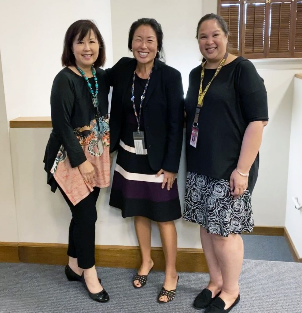 Photo of:  From left, volunteer attorney Ann Isobe, State Law Librarian Jenny Silbiger, and Librarian Marlene Cuenco.