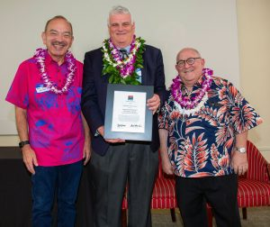 Photo of from left, former Gov. John Waihee, Chief Justice Recktenwald, and Jay Fidell, ThinkTech Hawaii president.