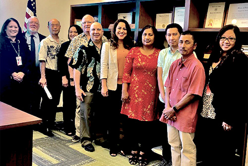 Judge Masunaga and Judge Joseph Florendo, with Debi Tulang-DeSilva and Melody Kubo of the Judiciary's Office of Equality and Access to the Courts, host Seven court interpreters at the Keahuolu Courthouse, 03/04/2020.