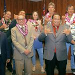 Second Circuit Chief Judge Richard T. Bissen, Jr. (back), Chief Judge Joseph E. Cardoza (ret.) (front), Judge Peter T. Cahill, and Drug Court Substance Abuse Counselor IV George K. Aiwohi, Jr., with graduates in the courtroom at Hoapili Hale for the 70th Maui Drug Court graduation, 02/20/2020.