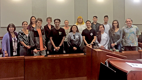 Judge Kathleen Watanabe and Per Diem Judge Robert Michael Goldberg in the courtroom with 13 of Judge Goldberg's Kauai Community College Business Law students, 03/05/20.