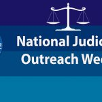 """Banner with words """"National Judicial Outreach Week"""" and the Hawaii State Judiciary seal, scales of justice image, and background of 4 stripes of different shades of blue."""