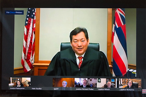 Image from the YouTube livestream of Judge Peter K. Kubota at the bench with livestream images of other Hawaii Supreme Court justices and Gov. David Y. Ige looking on from their remote locations.
