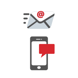 Graphic of email, text and mobile phone graphics