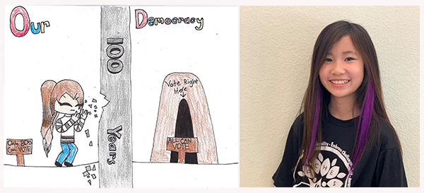 Drawing of a woman breaking down a wall (left), photo of artist Ella Kim, (right).