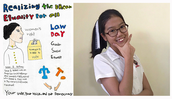 Drawing of a woman and symbols of voting and law (left), photo of artist Ella Kim, (right).